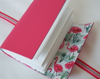 Flamingo Journal Leather Hand Bound Journal Sketchbook Notebook A6