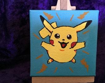 Handpainted Petite Portrait Pikachu Pokemon