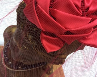 Vintage Red Fascinator with Red Invisible Veil