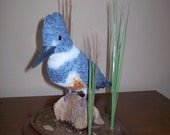 Kingfisher, Hand Carved Belted Kingfisher, Carved Bird,