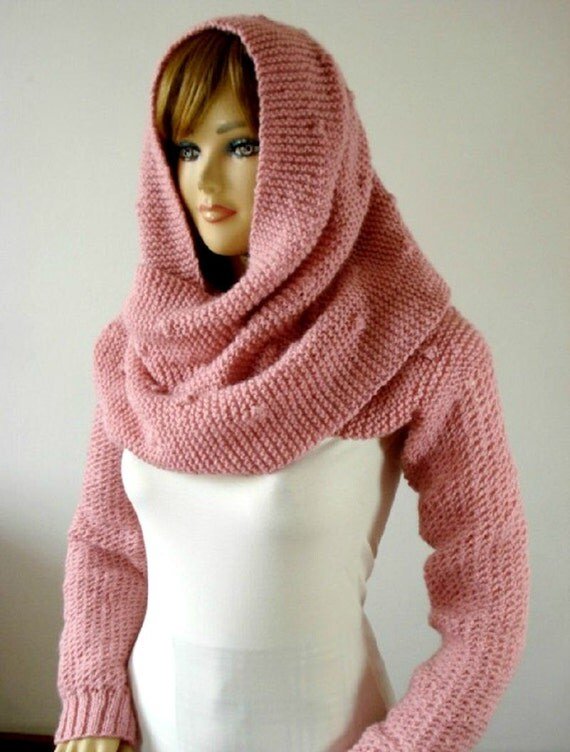 Knitting Pattern Scarf With Sleeves : KNITTING Hood PATTERN Knitted Celine Hodded by LiliaCraftParty