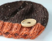 Woodland kids winter baby hat boys hat or girls hat in pumpkin and brown for kids christmas