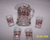 Vintage Child Pitcher Set Mosser or Northwood Glass Cherry & Cable Thumbprint Red
