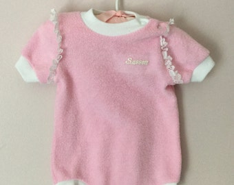 Vintage Baby Pink Terrycloth One Piece Romper Snap Crotch size 6 months
