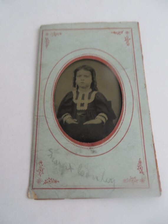 Items similar to vintage small little girl 1800s tin type on etsy - Small tin girl ...