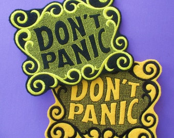 Large 5 by 6 Inch Embroidered Don't Panic Applique Patch, School Bus Yellow and Canary Yellow with Black, Iron On Patch