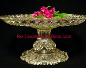 "Pedestal server appetizers. Great for entertaining. ""The Constance"" is made with repurposed glass."