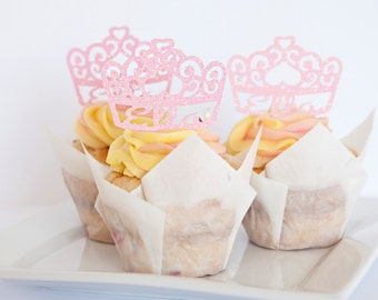 Princess Party Tiara Cupcake Toppers, personalized, set of 18
