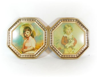 Vintage Tin Portrait Children's Childs Victorian Portrait Wall Art Guildcraft Tin Lithograph Print Wall Hanging Hollywood Regency SET of 2