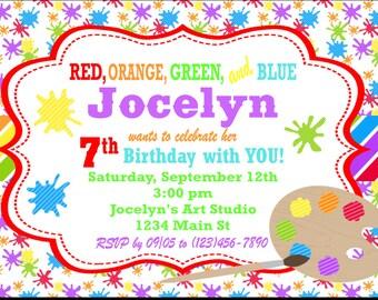 RAINBOW ART PARTY Happy Birthday Party or Baby Shower Invitations Set of 12 {1 Dozen}