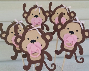 5  Monkey girl in stick with pacifier great for centerpieces or party decorations, baby shower