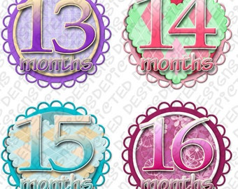 Month to Month baby stickers - Baby monthly stickers 13 - 24 months - Bodysuit Romper Stickers - Monthly Baby Stickers - SWEET & SAVORY