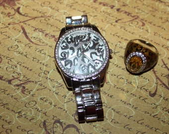 Vintage LEOPARD SPOTS Large Watch & Ring Set-Free Shipping