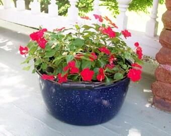 Vintage Enamelware Pot Wood Handle Cobalt Graniteware Large