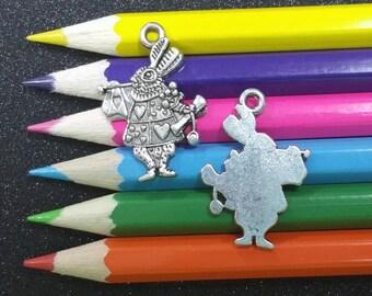 10 PCS - Alice Wonderland White Rabbit Silver Charm Pendant C0834