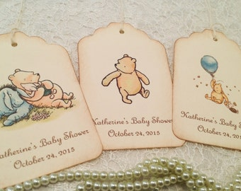 Baby Shower Thank You Gift Favor Tags-Classic Pooh Shower Decorations-Set of 12