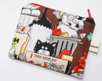Coin purse, change purse, with cats, alley cats