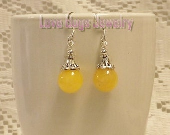 Yellow Earrings - Yellow Jade Earrings, Dangle Earrings, Beaded Earrings, Gemstone Earrings