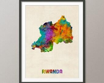 Rwanda Watercolor Map, Art Print (2121)