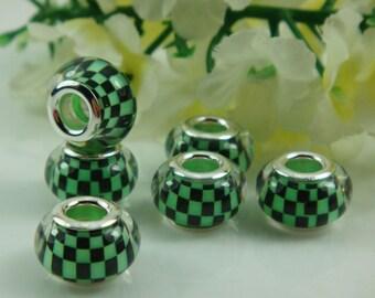 2 Checkered Bead Charm For European Bracelet Beads U.S Seller - ec174
