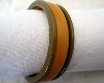 Bakelite Striped Bangle Butterscotch Bracelet
