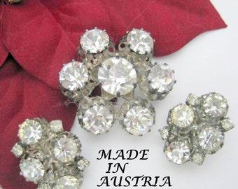 Austria Rhinestone Brooch Set - Vintage Clear Faceted - Clip On Earrings
