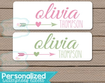 Personalized Waterproof Label Stickers - Girl - arrow - Perfect for Bottles, Sippy Cups, Daycare, School - Dishwasher Safe - 100wpL