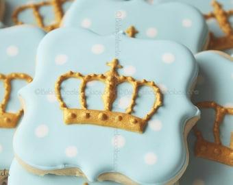 Royal Baby Shower Crown Cookies, Prince Cookies, Gold Cookies, Royalty, It's a boy, Baby Shower Favors