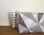 Geometric Pattern Zipper Pouch, Cosmetic Pouch, Pencil Case, Back to School, Gray Pale Pink Triangle, Modern Pouch