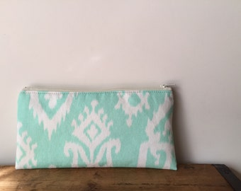 Mint Ikat Pencil Case, Zipper Pouch, Cute Pencil Pouch, Back to School, Mint Zipper Bag, Gift for her, Mint and White