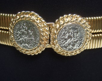 Elegant Gilt Metal Stretch Belt with Roman Style Silver Metal Coins c 1980s