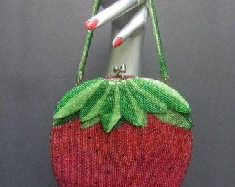 Unique Glass Beaded Strawberry Evening Bag c 1970