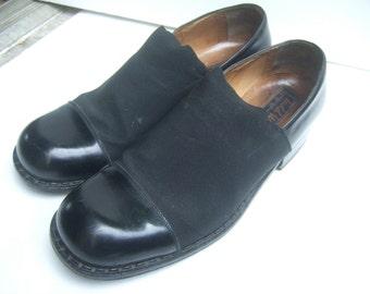 Men's Italian Black Leather Lycra Band Shoes US Size 11.5