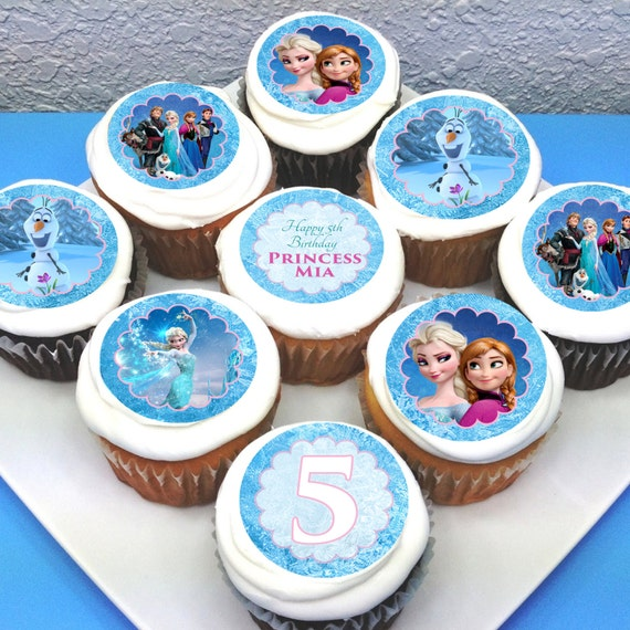 Edible Cake Top Decorations : Frozen Personalised Edible Cupcake Toppers - 2