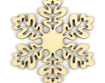 Oak Leaf - Laser Cut Wood Snowflake in Multiple Sizes and Quantity Discounts