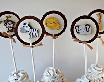 Jungle Safari Birthday Party Cupcake Toppers, Zoo Party Decorations, Safari Birthday Party