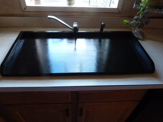 Laundry Sink With Cover : ... Bath Cover Black Tray Wood Laundry Washer Dryer Cover Stove Top Cover