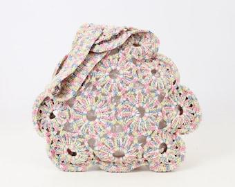 vintage 40s crochet corde bag / 1940s corde purse / crocheted pastel purse / open weave wrist bag / wristlet purse