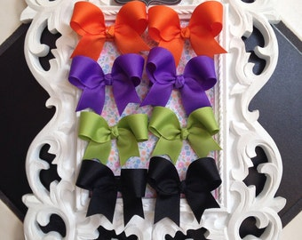 Pigtail Bows Infant Toddler Hairbow Piggies Halloween Fall colors starter set alligator hair clip clippies