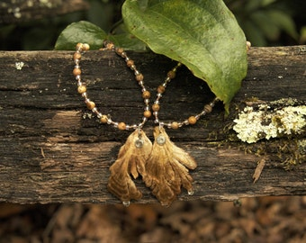 Light Brown Double Polypore Necklace with Picture Jasper Beads (Small)