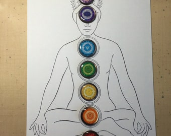 Set of 7 Chakra Studio Buttons, Mother of Pearl
