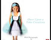 Wonderland Princess Tutu Dress - Halloween Costume - Girls Size Baby Newborn 3 6 9 12 18 24 Months 2T 3T 4T 5T 6 7 8 10 12 Aqua Blue White