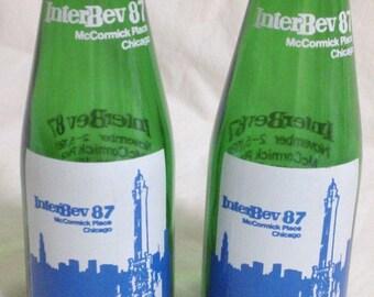 Vintage InterBev 87 Salt and Pepper Shakers Green Glass Jar Chicago Illinois