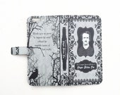 Book phone /iPhone flip Wallet case- Edgar Allan Poe for  iPhone 7, 6, 6 & 7 plus, 5, 5s, 5c, 4- Samsung Galaxy S7 S6, S5 , Note 4, 5, 7 LG,