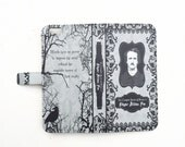 Book phone /iPhone flip Wallet case- Edgar Allan Poe for iPhone 6, 6 plus, 5, 5s, 5c, iPhone 4, 4s- Samsung Galaxy S6 S5 S4 S3, Note 3, 4