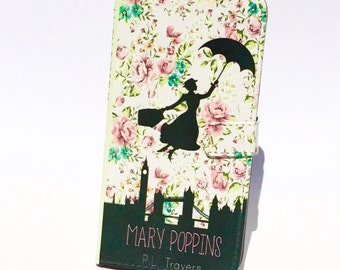 Book phone /iPhone flip Wallet case- Mary Poppins for  iPhone 7, 6, 6 & 7 plus, 5, 5s, 5c, 4- Samsung Galaxy S7 S6, S5 , Note 4, 5, 7, LG,