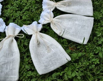 """Natural White Linen Favor Bags with Lace 3 1/2""""x6"""" Set of 10"""