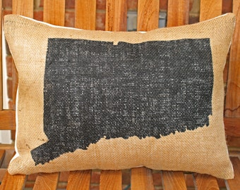 Hand Painted Connecticut State on Burlap Pillow Cover