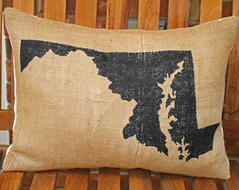 Hand Painted Maryland state on Burlap Pillow Cover