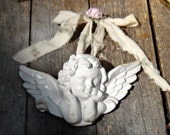 White Angel, Cherub, Cupid, Cottage Decor, Religious Icon, Inspiration, Rustic Ceramic Angel, Shabby Decor, Winged Cherub, Rustic Cottage